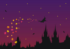 Halloween in gothic town. Silhouette of old Prague was used for creating this illustration vector illustration