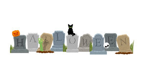 Halloween Grab und Hand des Zombies Schwarze Katze und Schädel Stockbild