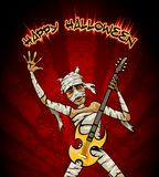 Halloween Graphic with Mummy Playing Guitar Stock Images