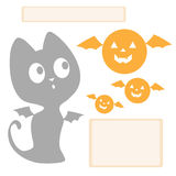 Halloween graphics. Kitten and pumpkins look at each other Stock Photo
