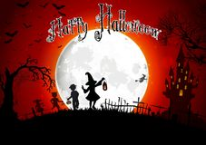 Halloween grave on full moon background with a little girls Stock Image