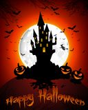 Halloween grave on full moon background pumpkins, hand, scary house  and bats Royalty Free Stock Image