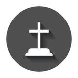 Halloween grave icon. Gravestone vector illustration. Rip tombst Stock Image