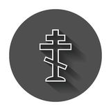 Halloween grave icon in line style. Gravestone vector illustrati Royalty Free Stock Photo
