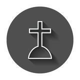 Halloween grave icon in line style. Gravestone vector illustrati Royalty Free Stock Images