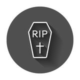 Halloween grave icon in line style. Gravestone vector illustration. Royalty Free Stock Image