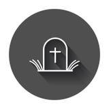 Halloween grave icon in line style. Gravestone vector illustration. Stock Photos