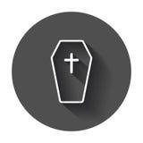 Halloween grave icon in line style. Gravestone vector illustration. Royalty Free Stock Photo