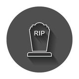 Halloween grave icon in line style. Gravestone vector illustration. Royalty Free Stock Images