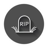 Halloween grave icon in line style. Gravestone vector illustration. Stock Image