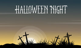Halloween with grave landscape collection Stock Images