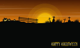 Halloween with grave and pumpkin landscape Royalty Free Stock Photography