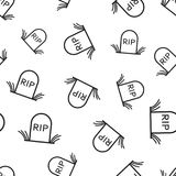 Halloween grave seamless pattern background. Business flat vecto Stock Photos