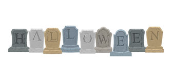 Halloween. Gravestone in cemetery. Illustration   Royalty Free Stock Images