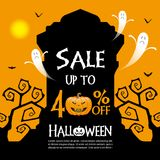 Halloween sale background. Halloween gravestones and sale text on orange color background Royalty Free Stock Photo