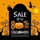 Halloween sale background. Halloween gravestones and sale text on orange color background Stock Images