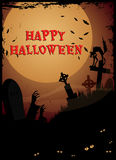 Halloween graveyard. /Night at graveyard with tombstones, zombie hands and cat,Happy Halloween text Stock Photography