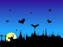 Halloween Graveyard. Graveyard silhouette at halloween time stock illustration
