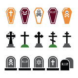 Halloween, graveyard colorful icons set - coffin, cross, grave Royalty Free Stock Images