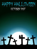 Halloween graveyard with crosses Stock Photo