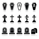 Halloween, graveyard icons set - coffin, cross, grave Stock Photos