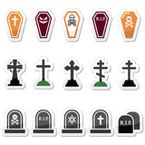 Halloween, graveyard icons set - coffin, cross, grave Royalty Free Stock Image