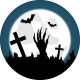 Halloween Graveyard with Living Dead Awakening stock illustration