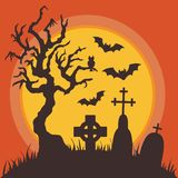 Halloween Graveyard at Night with Full Moon. Halloween graveyard night spooky scene with tombstones, dead tree, owl and flying bats silhouettes against full moon stock illustration