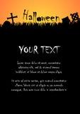 Halloween graveyard and orange background. Vector : Halloween graveyard and orange background Stock Photography