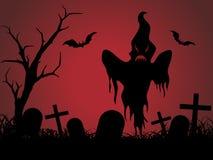 Halloween graveyard red background, illustration Stock Photos