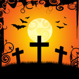 Halloween Graveyard Represents Trick Or Treat And Afterlife. Halloween Graveyard Indicating Place Of Burial And Trick Or Treat Stock Image