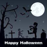 Halloween Graveyard with Zombies & Bats Stock Photo