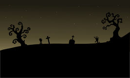 Halloween graveyards silhouette scary Royalty Free Stock Photography