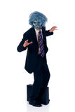 Halloween greedy businessman. Wearing Halloween mask.  studio shot, white background Royalty Free Stock Photo