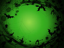 Halloween green background with black spider webs, spiders, bats and blobs Royalty Free Stock Image