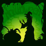 Halloween green background with demon and witch vector illustration