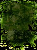 Halloween green background with pumpkins, cats and bats Stock Image