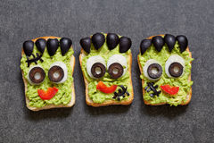 Halloween green monster sandwich Stock Image