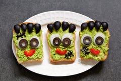 Halloween green monster sandwich Royalty Free Stock Photos