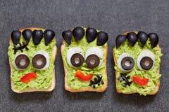 Halloween green monster sandwich Stock Photos