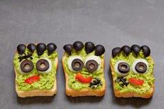 Halloween green monster sandwich Stock Photography