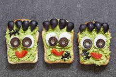 Halloween green monster sandwich Royalty Free Stock Images