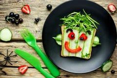 Halloween Green Monster Sandwich For Kids Breakfast Royalty Free Stock Photography