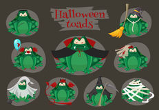 Halloween green toads fashion costume outfits. Cartoon style vector illustration isolated on white background Stock Image