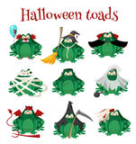 Halloween green toads fashion costume outfits. Cartoon style vector illustration  on white background Stock Image