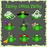 Halloween green toads fashion costume outfits. Cartoon style vector illustration  on white background Royalty Free Stock Images