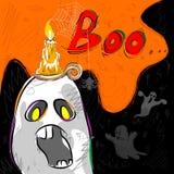Halloween greeting background. Vector design of Halloween greeting background with flying boo ghost Stock Photos