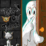 Halloween greeting background. Vector design of Halloween greeting background with flying boo ghost Stock Photography
