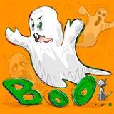 Halloween greeting background. Vector design of Halloween greeting background with flying boo ghost Stock Photo