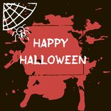 Halloween greeting card. Abctract grunge stains and splashes, ba. Ts and spiders, text Happy Halloween Stock Illustration